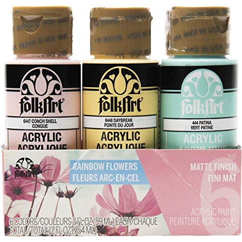 FolkArt 6 Color, Matte Acrylic Paint Set, 2oz, Rainbow Flowers
