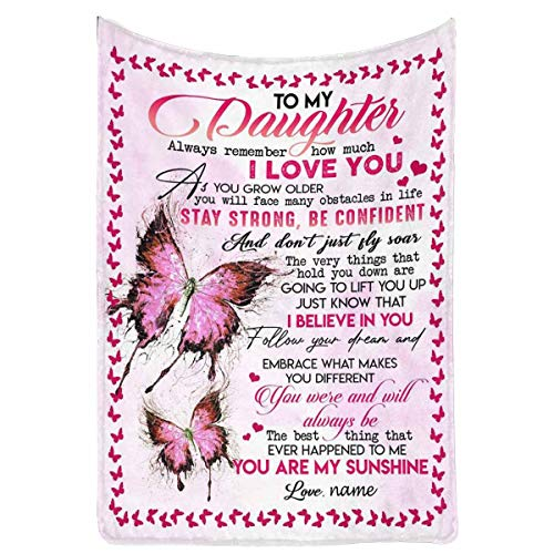 Custom Name Blanket Love Letter to My Daughter from Mom & Dad, Always Remember How Much I Love You Butterfly Personalized Gift Fleece Throw Blanket for Bed Couch 40 x 50 Inches