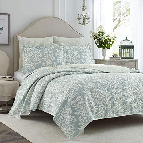 Laura Ashley Rowland Collection Bettwäsche-Set, 100 prozent Baumwolle, wendbar, für alle Jahreszeiten, mit entsprechendem Kissenbezug, vorgewaschen für zusätzlichen Komfort, Doppelbett, Blau