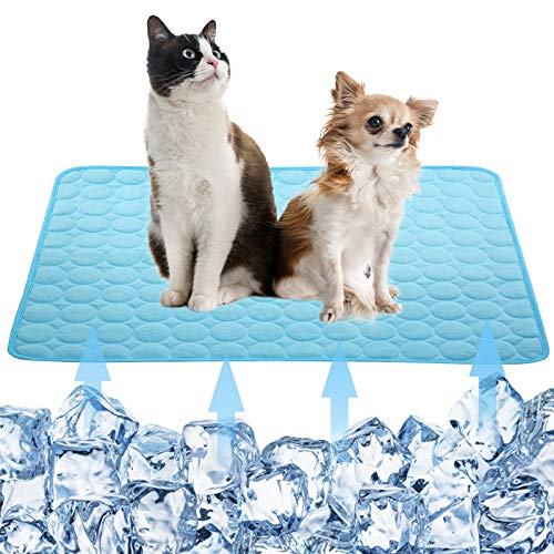 Dog Self Cooling Mat Pet,Breathable Summer Cooling Pads,WashableIce Silk Sleep Mat,Sleeping Kennel Mat Pad Non-Toxic Sleep Bed Mat for Large Dogs Cats Animal Blue