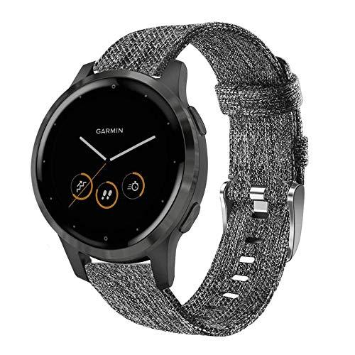 WATORY Ersatz für Garmin vivoactive 4s 40mm Armband, 18mm Quick Release Gewebtes Nylon Uhrenarmband Edelstahl Verschluss Armband Sport Ersatzband für Garmin vivomove 3S 39mm