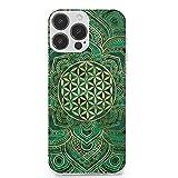 Coque pour iPhone 13 Pro Max - Fleur de vie en malachite de lotus et or - Anti-rayures - En TPU...