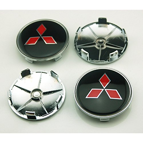 4pcs W025 68mm Car Styling Accessories Emblem Badge Sticker Wheel Hub Caps Centre Cover Black MITSUBISHI
