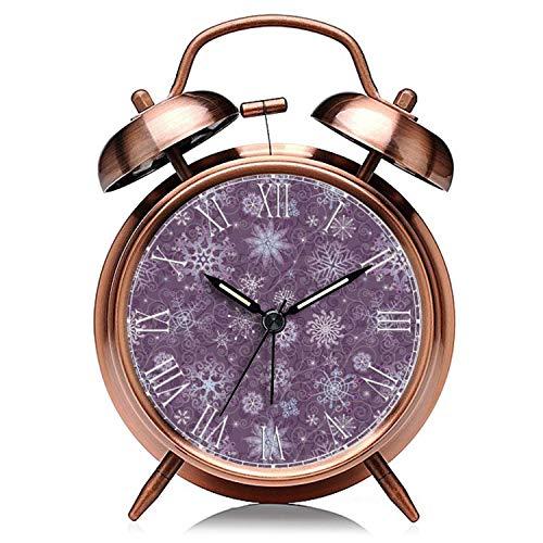 GIRLSIGHT Reloj despertador de Navidad de cobre retro silencioso con luz de noche, doble campana, 485.Holiday festivo Navidad copo de nieve patrón reloj despertador