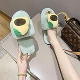 N/W Zapatos de Playa, Zapatillas de algodón de Invierno para Mujer, Zapatillas de Felpa Planas y cálidas-Green_40