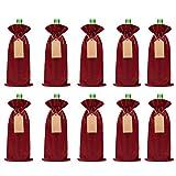 Weinflaschenbeutel aus Jute, 34 x 15 cm, mit Kordelzug, Anhänger und Seilen, für Hochzeit, Geburtstag, Party, Braun, 10 Stück rot