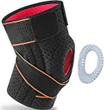 Knee Brace for Knee Pain Women Men Compression Knee Brace with Side Stabilizers Gel Pad Adjustable Knee Support Sleeves for Meniscus Tear ACL Arthritis Working Out