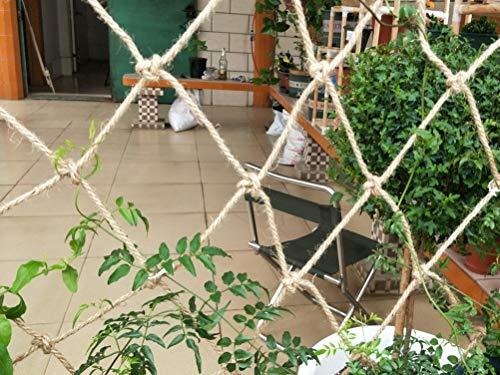 WL-net 1×1M Hanfseilnetz, Balkontreppe Terrassengeländer Sicherheitsseilnetz, Kinder Klettern Wildschutznetz, Gartenmauer Zaun Dekorationsnetz Für Retro-Effekt, Wiederholte Verwendung