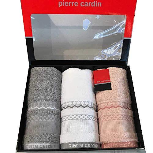 PierreCardin - Juego de toallas 3 + 3 cara + toalla de invitados Georgia (gris - blanco - polvo)