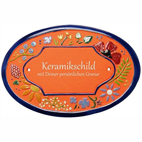 Handarbeit aus Schleswig-Holstein Keramikschild 21,0 x 14,5 cm Wildblütendekor (Terracotta)