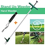Walensee Stand Up Weeder and Weed Puller, Stand up Manual Weeder Hand Tool with 3 Claws, Stainless Steel and High...