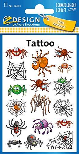 AVERY Zweckform 56693 Tattoo Kinder 17 Stück (Temporäre Tattoos Spinnen, Kinder Tattoo wasserfest, Klebetattoos, Kindergeburtstag, Mitgebsel, Partyspiele Preise, Kinder zum Spielen, Tattoo Jungen)