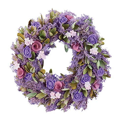 Natural Wooden Purple Floral Hanging Wreath, Lavender, Rose, Ivory, Sage Colors - Hook on Back for Easy Hanging - for Front Door, Walls, Anywhere in Home - Wood, Paper, Styrofoam - 13' Dia