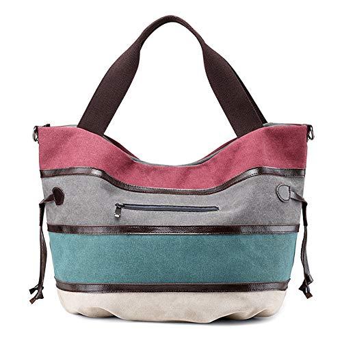SNUG STAR Handtasche aus Segeltuch mit Gittermuster, mehrfarbig gestreift, (Mehrfarbig-03), Medium