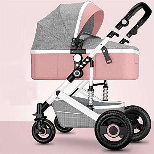 Cochecito de bebé 2 en 1 Cochecito de bebé reversible convertible, Cochecito de viaje compacto, Plegable con una mano, Cochecito ligero con suspensión 3D (Color: Rosa, Tamaño: Acero)