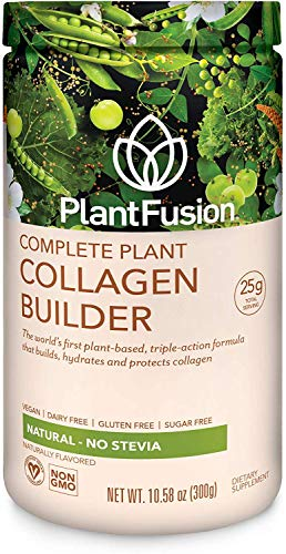 PlantFusion Collagen Builder Plant Based Peptides Protein Powder | Vegan Collagen Supplement |Collagen Building, Skin Hydration, Joint Support, Healthy Hair, Gluten-Free, Non-GMO, Unflavored 10.58 Oz
