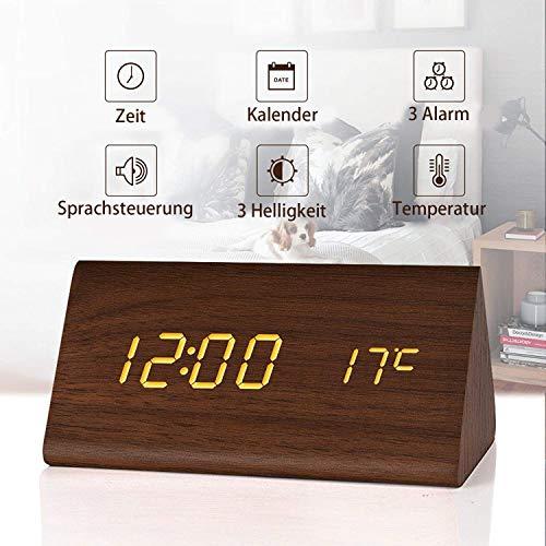 Fomobest LED Wecker Wiederaufladbar Holz Tischuhr Klein Standuhr Datum/Temperatur Anzeige Digital...