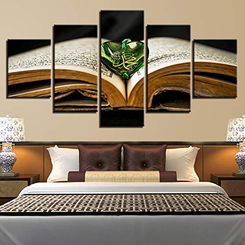 GIAOGE Dipinti su Tela Stampe HD Quadri Dipinti Arte murale 5 Pezzi Libro Sacro Allah Il Corano Poster Ciondolo Immagini Musulmane Cornice per la casa modulare,40x60 40x80 40x100cm,Frame