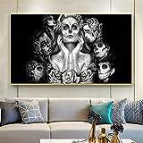 HUANGXLL Skull Girls Canvas Art Pinturas de Pared Black Sexy Women Wall Pictures Posters e Impresiones para la decoración de la Pared de la Sala de estar-50x100cm Sin Marco