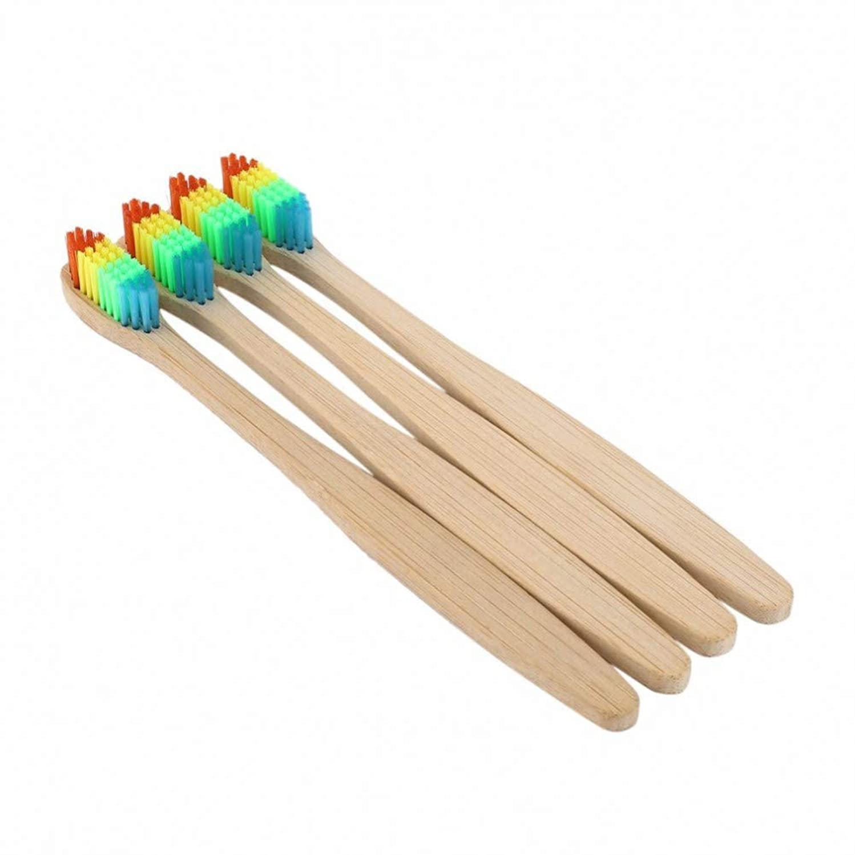 評決スキップ日焼け4個/ロットカラフルな竹ハンドル歯ブラシエコフレンドリー木製レインボーオーラルケアソフト毛歯ホワイトニング、