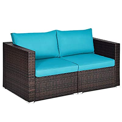Tangkula 2 PCS Outdoor Wicker Corner Sofa Set, Patio Rattan Loveseat w/Removable Cushions, Sectional Sofa Set Additional Seats for Balcony Patio Garden Poolside (Turquoise)
