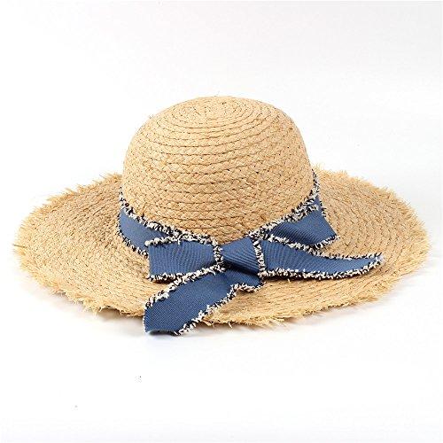 U/D Sombreros Sombrero de Paja for Mujer Sombrero for el Sol de 10 cm de Ancho, Rafia, Verano, for Mujer Lhzus (Color : 1, Size : 56-58CM)