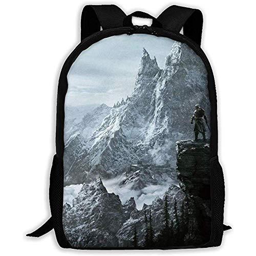 College School Bookbag,Laptop Rucksack,Vielseitiger Outdoor Daypack,Leichte Schultertasche,Lässiger Wasserdichter Rucksack,- Skyrim Mountain