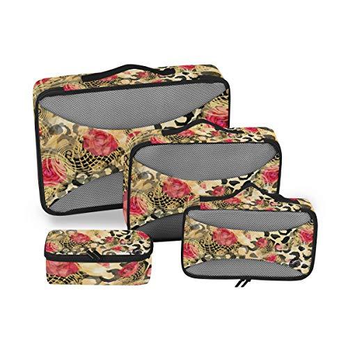 QMIN - Juego de 4 Cubos de Viaje con Estampado de Leopardo y Flores de Rosas, Bolsa organizadora de Malla para Equipaje de Mano, Bolsa de Almacenamiento para Maletas de Viaje