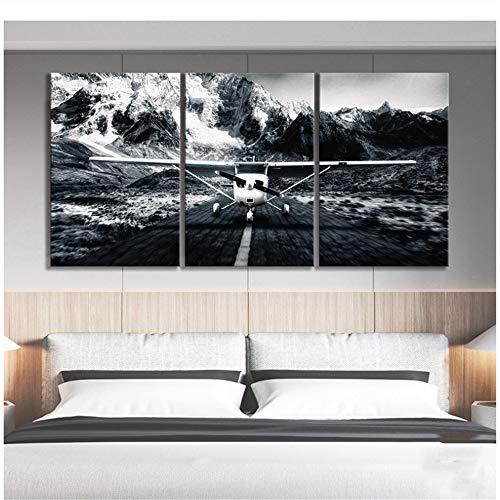 Foto's Canvas Schilderij Home Decor Zwart Wit Privé Vliegtuig Sneeuwberg Landschap Prints Poster Wall Art Woonkamer-50x70cm Geen Frame