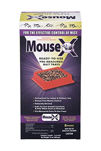 EcoClear Products 620111, MouseX All-Natural Non-Toxic Humane Mouse Killer Pellets, Ready-To-Use Pre-Measured 3 oz. Bait Trays, 8-Pack