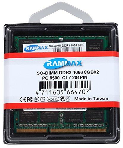 RamMax 16GB デュアル PC8500 8GBメモリ 2枚組 DDR3 1066 RM-SD1066-D16GB DUAL 204pin DDR3-SO-DIMM ノート パソコン用 増設メモリ