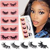 BEEOS 3D Mink Eyelashes,False Eyelashes,Dramatics Long Bushy Type 18-25mm 5 Styles Multipack, Siberian Mink Fur Lashes Hand Made Strips Real Natural Reusable Fake Eyelashes 5 Styles/Mixed 1