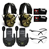 Walkers Razor Slim Electronic Shooting Muffs (MultiCam Camo Tan) 2-Pack with Walkie Talkies, Shooting Glasses, and Focus Cleaning Cloths Bundle (8 Items)