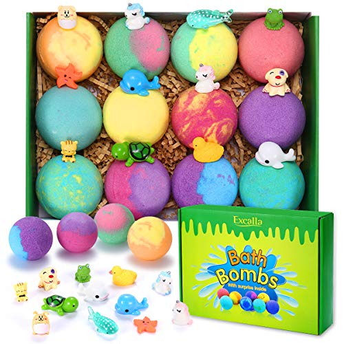 Bath Bombs for Kids with Surprise Toys Inside - Handmade 12 Gift Set for Boys Girls, Bubble Bath Fizzies Vegan Essential Oil Spa Fizz Balls Gift Kit