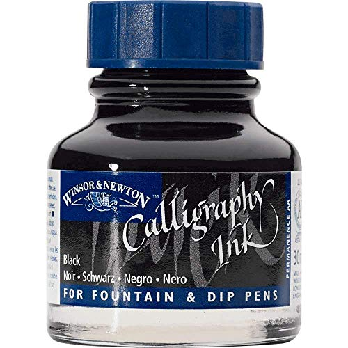 Winsor & Newton 1111030 Kalligraphie Tuschen (für Füllfederhalter oder Schreibfedern, untereinander mischbar, lichtecht, beständige Farbe) 30 ml Flasche schwarz