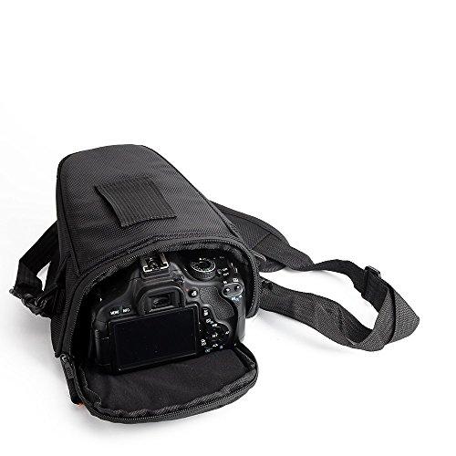 K-S-Trade Schultertasche Umhängetasche Kompatibel Mit Canon PowerShot SX70 HS Colt Kameratasche Für Systemkameras DSLR DSLM SLR, Bridge Etc, Schutzhülle Bag Zubehörtasche Gürteltasche Schwarz