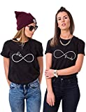 Best Friends T-Shirts for Two Cute Matching BFF Shirts BFF Tees Birthday Gift (Balck, Best-S+Friend-S)