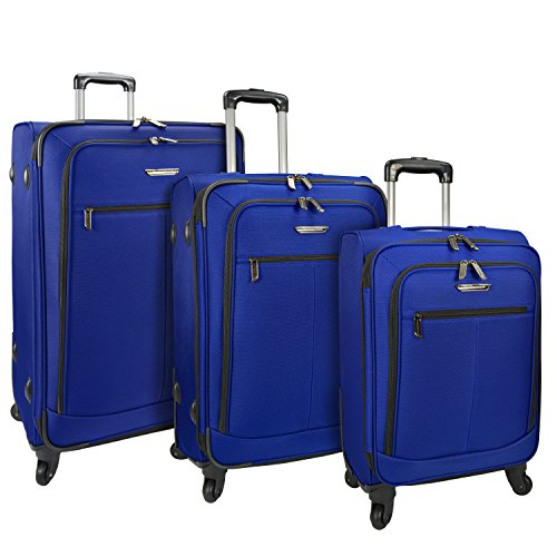 Traveler's Choice Merced Lightweight Expandable Spinner Luggage, Cobalt Blue, 3-Piece Set