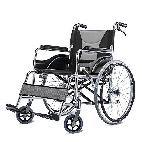 H&1 Silla de Ruedas eléctrica Silla autopropulsada de Viaje de Transporte cómodo de Aluminio Plegable Ligero con Freno de Mano
