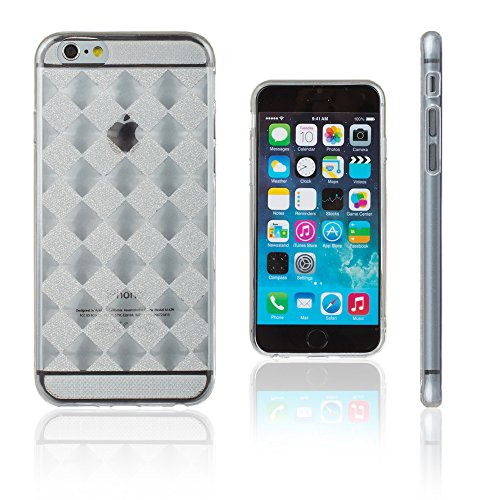 Xcessor Checkered Diamond Ajedrezado Diamante Lustroso Funda Carcasa de TPU Gel Flexible para Apple iPhone 6 / 6S. Transparente