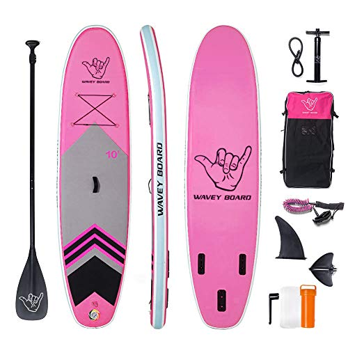 """WAVEY BOARD Inflatable Stand Up Paddle Board 6"""" Thick SUP Board PVC with Adjustable Paddle Backpack Pump and Bottom Fin for All Skill Levels Youth & Adult Surfboard Double Layer Rose Pink"""