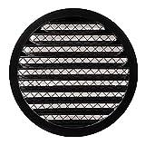 Ø 250mm 10' Rejilla de ventilación redonda de aluminio negro - Cubierta de ventilación de aire con malla