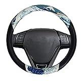 LIZIMANDU Car Steering Wheel Cover,Steering Covers with Pattern Anti-Slip Wheel Protector for Women,Lady,Universal 15 inch(1-Huge Wave)