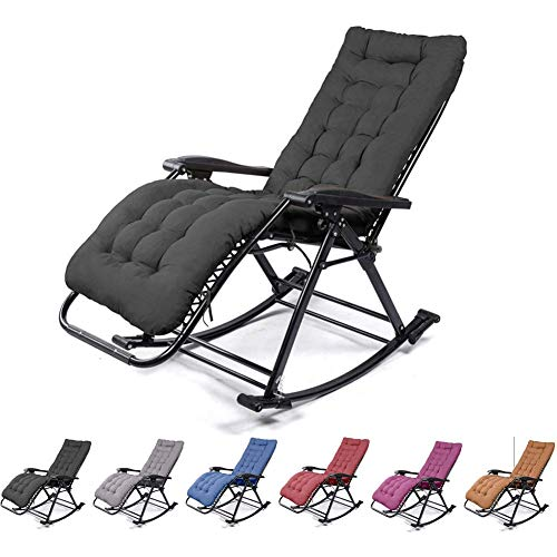 Anzkzo Zero Gravity Chair Adjustable Patio Sun Bed Recliner Reclining Sun Lounger Cushion Pads With Cushions Balcony Camping- black