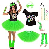 Women's 80's Costumes with Accessories Set Green Tutu Skirt Earrings Necklace Bracelets Fishnet Gloves Legwarmers Headband Medium(6-8)