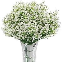 Homcomodar 12 Pack Flores Artificiales Bebés Flores de Aliento Plantas de Gypsophila Falsas Ramos para el Hogar de la Boda Decoración de Bricolaje (Blanco)
