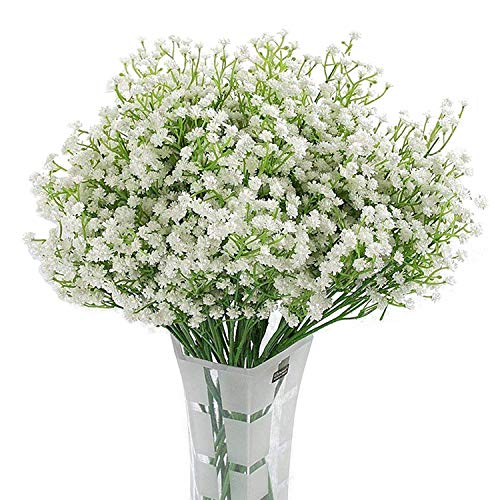 Homcomodar 12 Pack Artificial Flowers Babies Breath Flowers Fake Gypsophila Plants Bouquets For Wedding Home DIY Decoration (White)