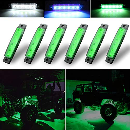 Botepon 6Pcs Led Rock Lights, Fender Wheel Well Lights, Led Underglow Lights for Trucks, Golf Cart, Jeep Wrangler, RZR, Offroad, F150, F250, Snowmobile (Green)