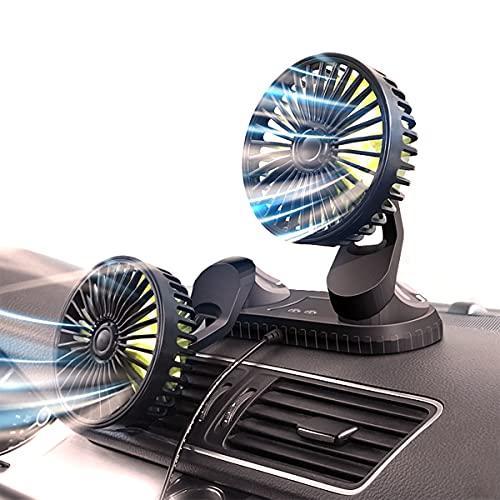 GvvcH Ventilatore Auto Ventola USB a Doppia Testa 360° 3 velocità Dispositivo di Raffreddamento dell'Aria per Auto Multifunzione per L'home Office Dell'auto Ricambi Auto