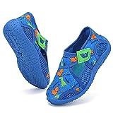 FANTURE Toddler Water Shoes Boys Girls Quick-Dry Aqua Socks Lightweight Closed-Toe Outdoor Sport Sandal(Toddler/Little Kid) U421ZS2001-Dinosaur.Blue.Grn-26